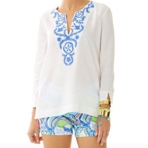 Lilly Pulitzer White Blue Embroidered Linen Top